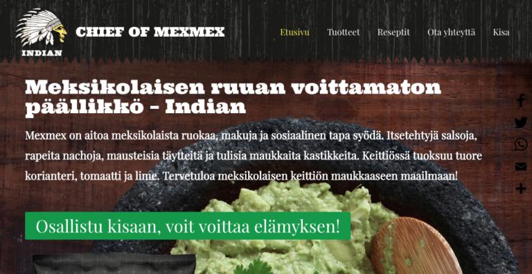 Indianmexmex.fi FB-sivu ja some-kampanjointi
