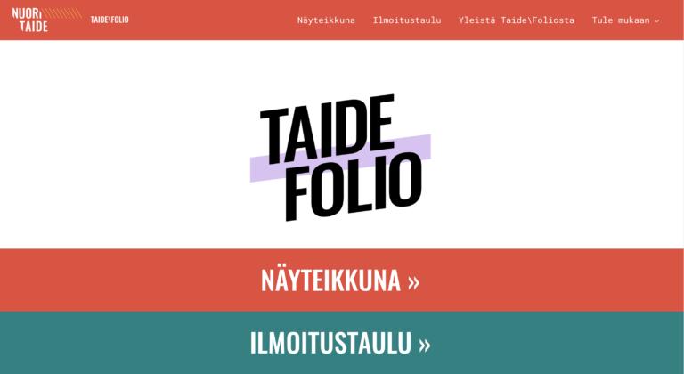 Taide\Folio – vuorovaikutteinen nettisivusto nuorten taiteelle