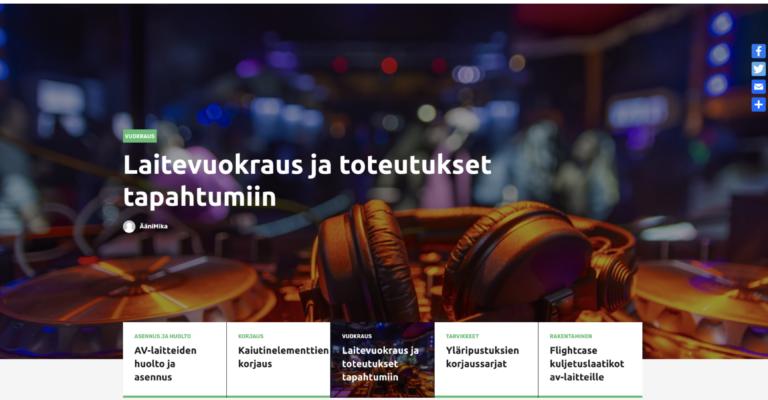 Äänilaitteiden  korjausta, vuokrausta ja konsultointia verkkokaupan kautta